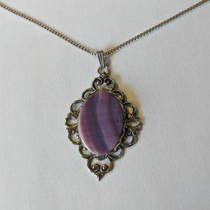Vintage Filigree Purple Agate Pendant Necklace